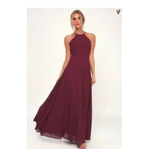 Lulu's Night of Romance Burgundy Sleeveless Dress